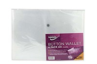 CLEAR BUTTON WALLET A4 4 PACK