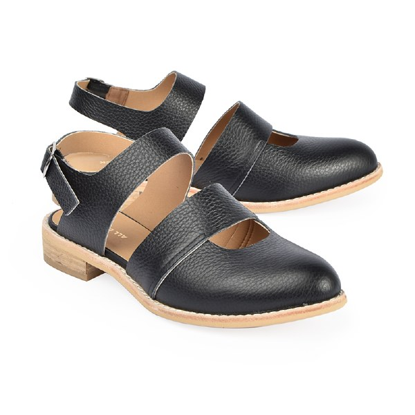 All Black Cowman Sandal - Black