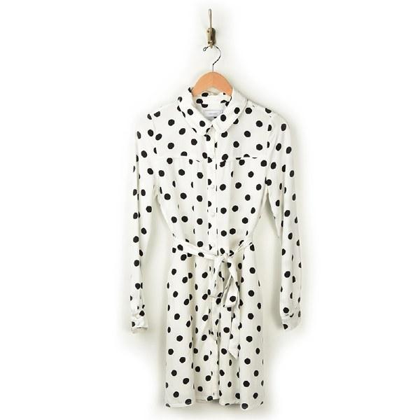 Greylin Marlen Dot Shirtdress - White/Black