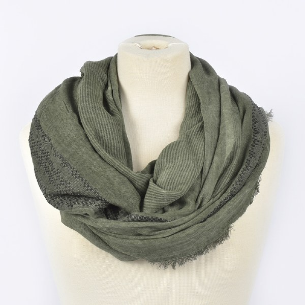 Joy Susan Embroidered Scarf - Olive