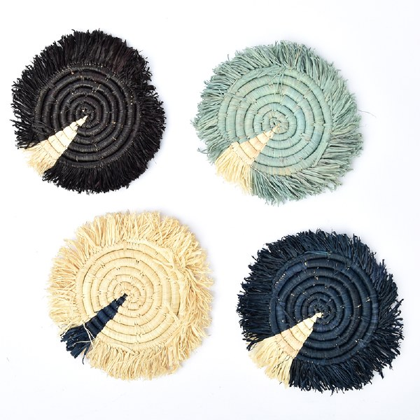Kazi Fringed Raffia Coasters - Dash of Blues