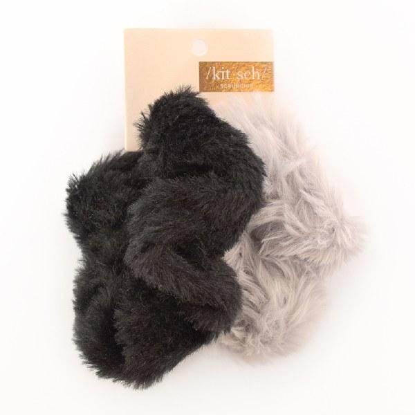 Kitch Faux Fur Scrunchies - Black/Grey
