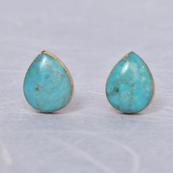Leslie Francesca Teardrop Stud - Turquoise