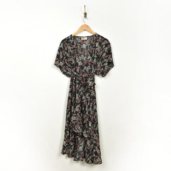 Look By M Vintage Floral Wrap - Black