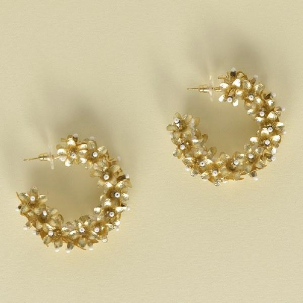 Olivia Dar Flower Hoop Small - Gold