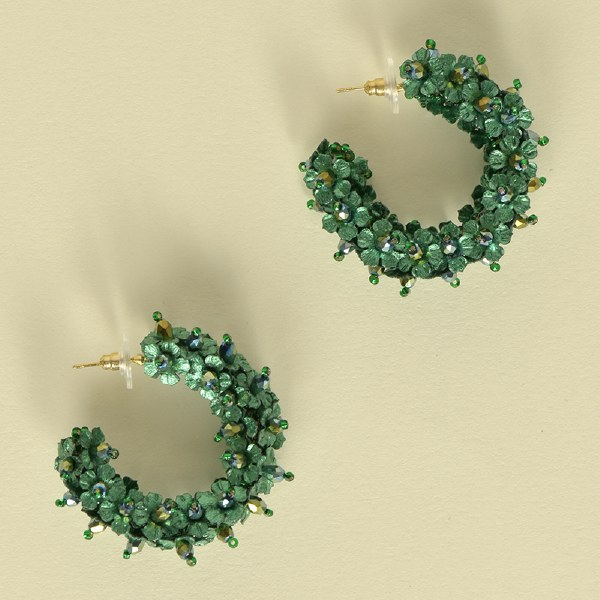Olivia Dar Flower Hoop Small - Green