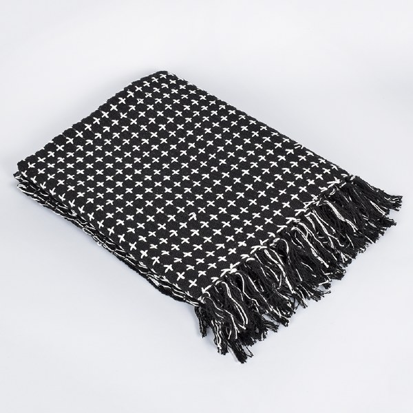 Saro Cross Thread Throw - Black/Natural
