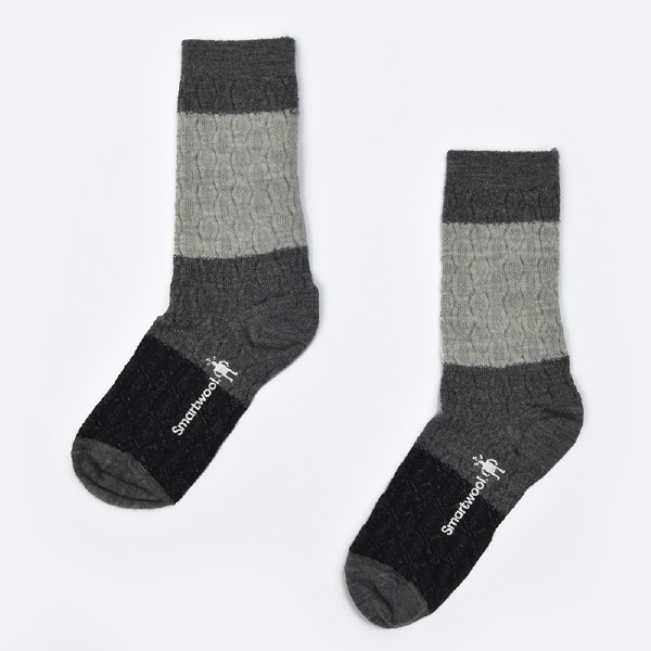 Smartwool Color Block Cable - M. Gray