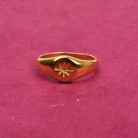 Farrah B Stardust Signet Ring - Gold