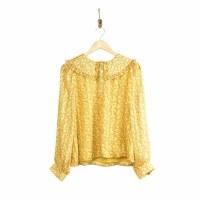 Greylin Angela Bib Blouse - Tumeric Yellow