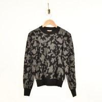 Lilla P Floral Puff SL Sweater - Black Charcoal