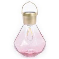 Allsop Solar Glass Gem Light - Rose