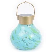 Allsop Solar Glass Tea Lantern - Mint