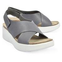 Ecco Corksphere Wedge Sandal - Titanium
