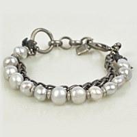 Embrazio Pearl Bracelet Double - Pewter