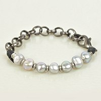 Embrazio Pearl Bracelet Rolo - Gunmetal