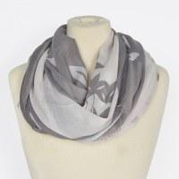 Joy Susan Olive Branch Scarf - Grey