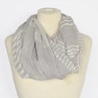Joy Susan Sheer Striped Scarf - Grey