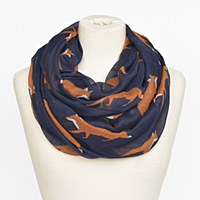 Joy Susan Fox Trot Scarf  - Navy