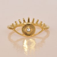 Katie Dean Evil Eye Ring - Crystal