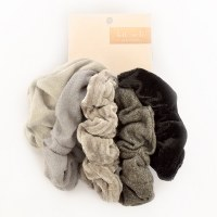 Kitsch Velvet Scrunchies 5pc - Black/Grey