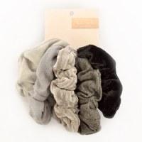 Kitsch Velvet Scrunchies 5pc - Black/Grey