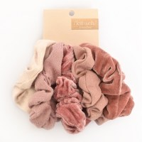 Kitsch Velvet Scrunchies 5pc - Blush/Mauve