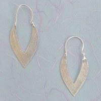 Leslie Francesca Almond Hoop - Silver