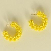 Olivia Dar Flower Hoop Small - Yellow
