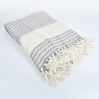 Saro Diamond Weave Throw - Grey