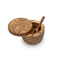 Olivewood Salt Keeper with Scoop