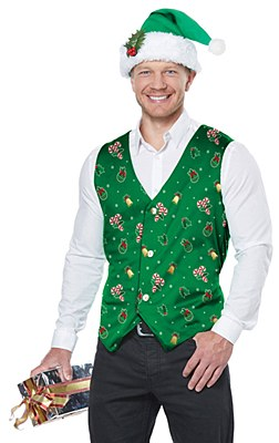 Holiday Green Adult Vest And Hat Set