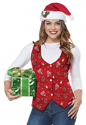 Holiday Red Adult Vest And Hat Set