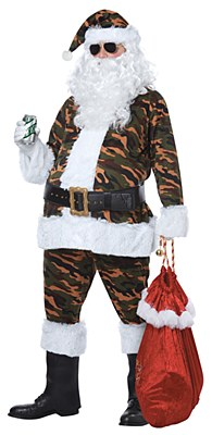 Camouflage Santa Clause Adult Costume