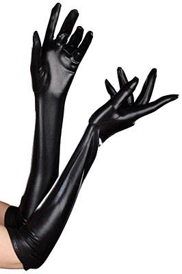 Black Liquid Metal Opera Gloves