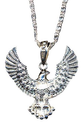 Eagle Medallion Necklace - Silver