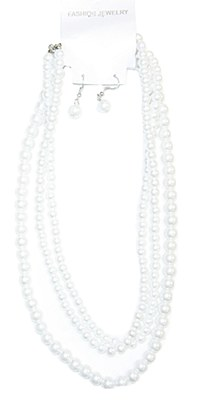 Pearl Triple Strand Necklace Set