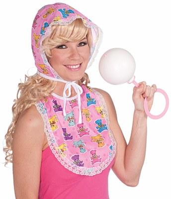 Baby Girl Pink Bib And Bonnet Set