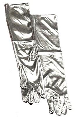Metallic Silver Elbow Length Gloves