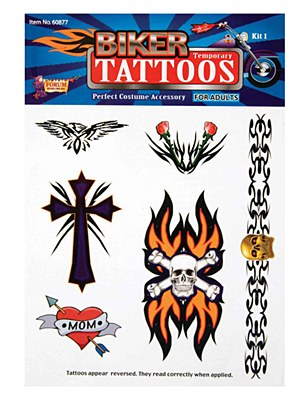 Biker Temporary Tattoo Set