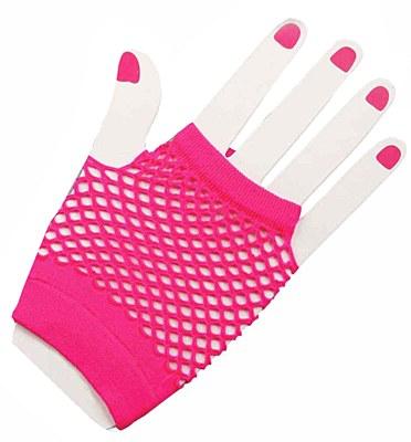 Short Fingerless Pink Fishnet Gloves