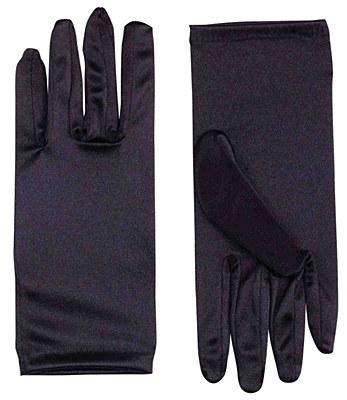 "9"" Adult Black Satin Gloves"