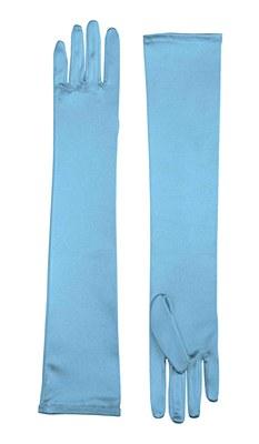 Long Blue Satin Gloves