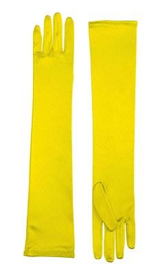 Long Yellow Satin Yellow Gloves