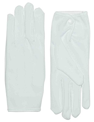 Short Nylon White Gloves With Snap