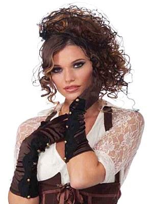 Long Satin Brown Gloves