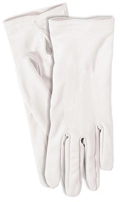 """Short Nylon 9"""" Adult White Gloves"""