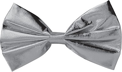 Bow Tie Silver Metallic Clip On