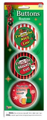 Funny Christmas Buttons / Pin Set