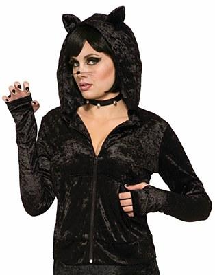 Black Cat Cropped Hoodie Jacket